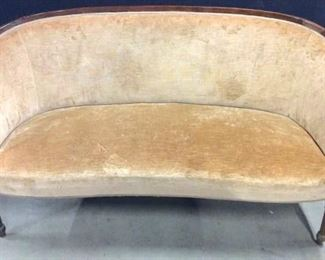 Tan Toned Carved Wooden Upholstered Loveseat