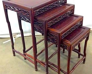 Vintage Carved Wooden Nesting Tables