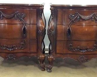 Pair Intricately Carved Wooden 3 Drawer Chests