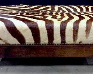 Zebra Hide Upholstered Footed Ottoman