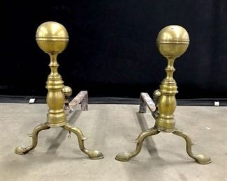 Pair Brass Toned Metal Hoof Footed Andirons