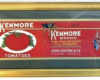 Framed KENMORE BRAND TOMATOES Label Artwork