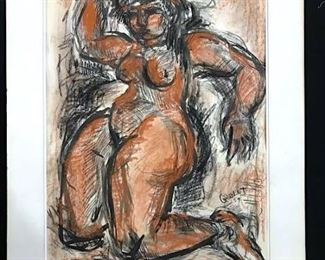 Signed GOULET Ink & Chalk Drawing, Female Nude