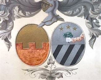 Framed Hand-Colored Coat of Arms Artwork