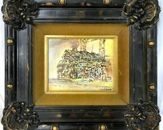 Framed Lithograph on Board, Railway Scene