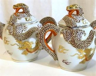 KUTAMI Japanese Dragon Gilt Porcelain Tea Set, 3