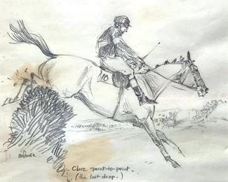 Signed Pencil Drawing, Horse Jumping