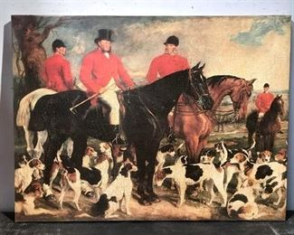 Print on Canvas, Hunters & Hounds at a Meet