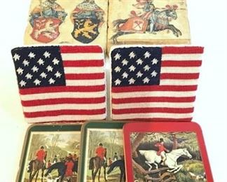 Lot 9 Drink Coasters, Stone, USA Flag, Fox Hunt