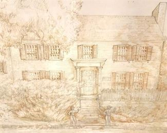 Vintage Signed Drawing of House