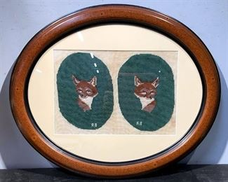 Oval Framed Vintage Fox Needlepoint Embroidery