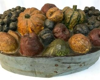Vintage Paper Mache Still Life Fruit Art, Signed
