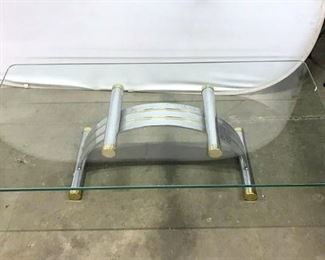 Vintage Deco Style Tubular Metal And Glass Table