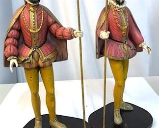 Medieval Royal Court Candle Holder Figurals, Pair