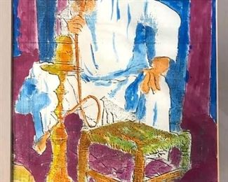 Signed Middle Eastern Seated Man With Hooka Print
