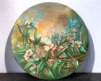 Floral Painting on Round Wood Board