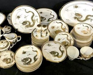 Gilt KUTAMI Porcelain Dragon Dinnerware