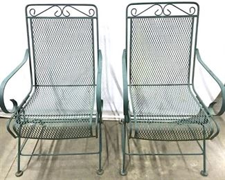 Pair Green Toned Outdoor Metal Chairs
