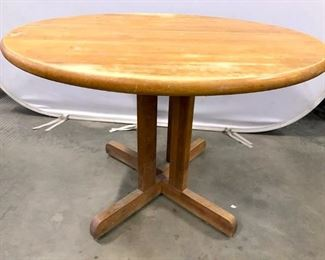 Vintage Round Wooden Dining Table W Leafs