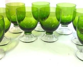 Bohemian Green Crystal Glassware, Set 9