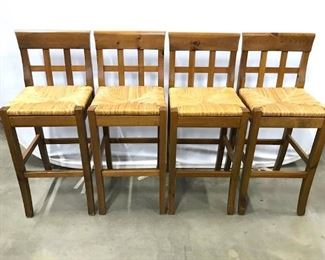 Set 4 Wooden Stools W Backrests Rush Seats