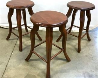 Set 3 Mahogany Toned Wooden Stools