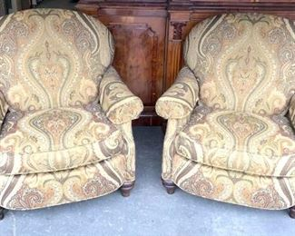 Pair HENREDON Paisley Upholstered Club Chairs