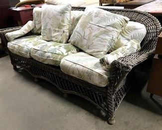 Outdoor Woven Wicker Sofa W Cushions