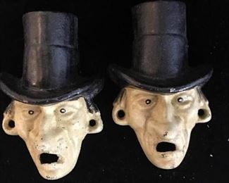 Pair English Top Hat Man Cast Iron Bottle Opener
