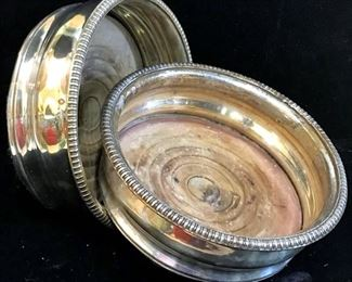 Pair Antique Silver Plated Wine Bottle Coasters