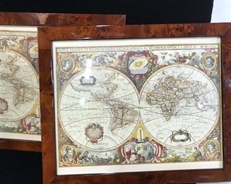 Set 2 Framed Antique Print of Globe