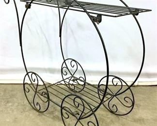 Black Toned Metal Cart Planter Stand