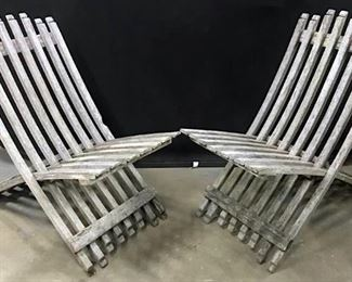 Pair Teak Wood Foldable Chairs