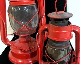 Pair Antique Oil Portable Lanterns