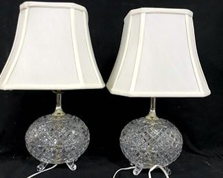Pair Footed Diamond Pattern Glass Lamps