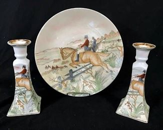 Set 3 Painted The Hunt Plate & Candlesticks
