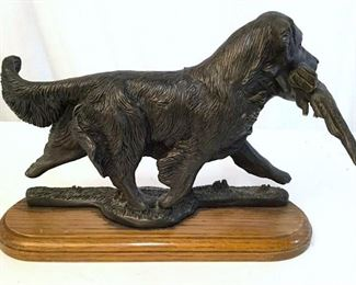 Composite Dog & Pheasant Figural On Wood Base