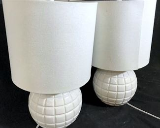 Pair Modernist Ceramic Globe Style Lamps
