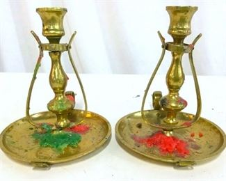 2Gold Toned Brass Swinging Candlesticks W Handles