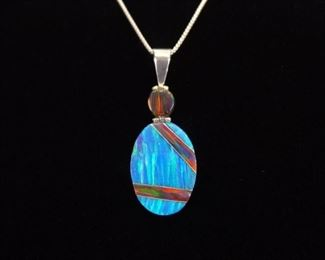 .925 Sterling Silver Multi Colored Opal Pendant Necklace