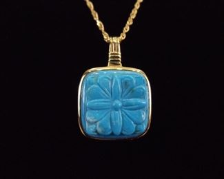 .925 Sterling Silver Carved Turquoise Vermeil Pendant Necklace