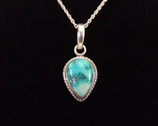 .925 Sterling Silver Light Turquoise Pendant Necklace