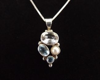 .925 Sterling Silver Faceted Topaz, White Sapphire and Pearl Pendant Necklace