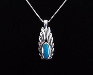.925 Sterling Silver Inlayed Turquoise Winged Pendant Necklace