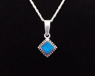 .925 Sterling Silver Inlayed Turquoise Diamond Pendant Necklace
