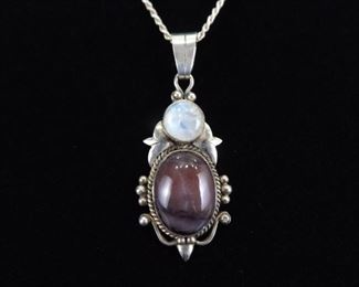 .925 Sterling Silver Amethyst and Moonstone Cabochon Pendant Necklace
