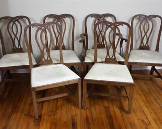 (6) 1866 Kittinger Buffalo Dining Chairs with Leather Wrapped Seat Cushions. Includes One Arm Chair.