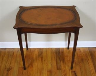 #104: 1866 Kittinger Buffalo Wooden Side Table with Leather Inlay. 26 H ''T x 25''W x 17''L