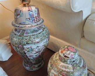 oriental hand painted urns