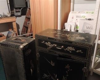 lacquered oriental chest, vintage trunk, storage cabinet